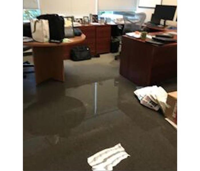 Pool of water in an office space.